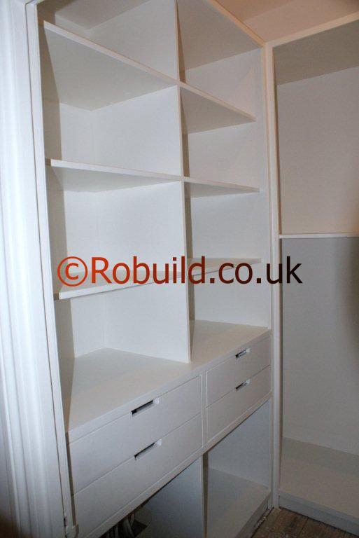 walk wardrobe London drawers