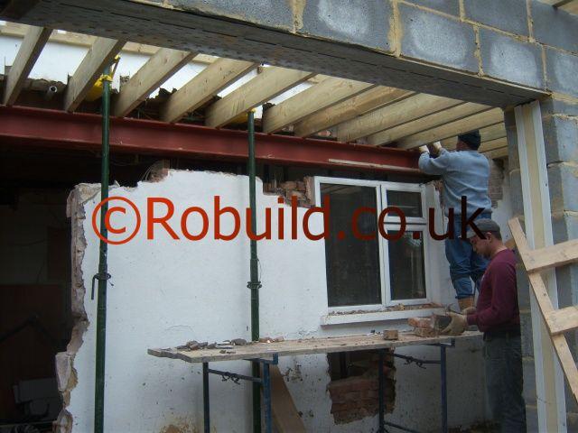 removing external wall rsj beam installation