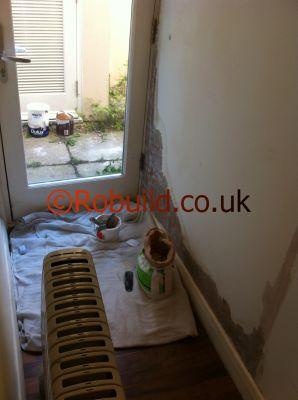 wall water leak damage