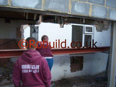 Rsj Metal Beam Installation Open Plan Kitchen Extension