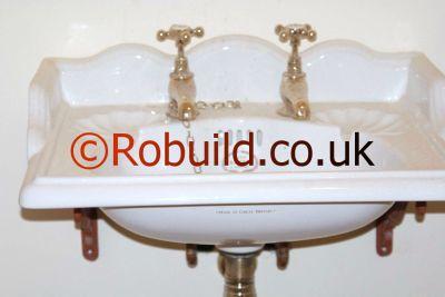 basin with pillar taps