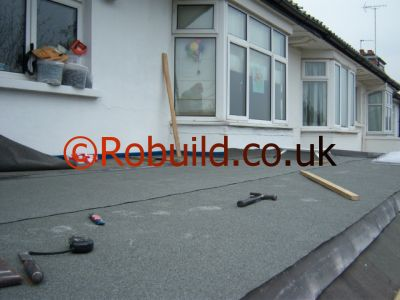 Kitchen extension, bitumen flat roof