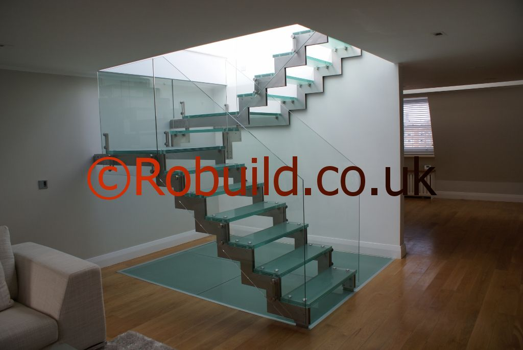 Glass staircase , flat refurbishment
